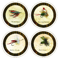 Absorbent Coasters Fishing Flies Collection