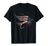 American Flag Salmon Fly T-Shirt for Man und Woman