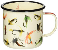 Enamel Mug with Fly Fishing Motif