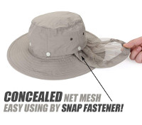 Fisching Hat with Hidden Net Mesh Protection