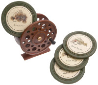 Fly Fishing Coaster Set with Fly Reel