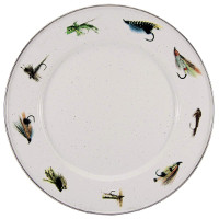 Dinner Plate with Fishing Fly Pattern