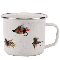 Soup Mug with Fishing Fly Pattern